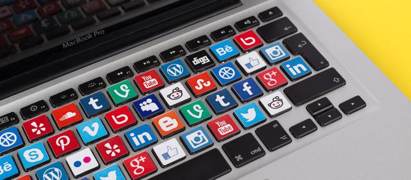 Social Media Logos on Macbook Keyboard